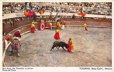 Mexico postcard Tijuana Baja Bull Ring the Toreador in Action Plaza de Toros