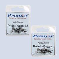 2 PACKETS OF PELLET WAGGLER FLOAT KWIK CHANGE ADAPTORS COARSE FISHING TACKLE