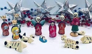 DAY of the DEAD Nativity, Christmas Nativity Set 13 Pieces Mexican Folk Art