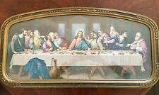 Antique Bible Print of Last Supper Brunozetti Lovely wood Frame Lithograph Jesus