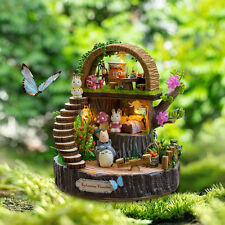 Cute Wood Kits Dollhouse Miniature DIY House Handcraft Totoro Figure Gift Light