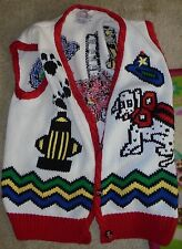 Womens medium firehouse fireman dalmatian vest traditional trading hand knit dog