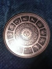 "Astrological Zodiac Signs Decor 10"" Copper Tone Serving Tray"