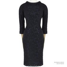 Julien David Black Twilight Blue Embroidered Tulle Overlay Pencil Dress S UK8