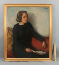 Large c1930s Antique HAROLD CHENEY American Portrait Oil Painting, Woman & Book