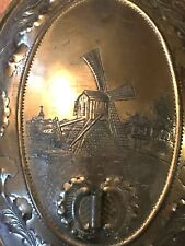 Antique Dutch Wall Sconce Hammered Windmill Scene Floral Border P&SDykstra Sneek