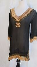 Lisa Curran Tunic Silk Bating Suit Cover Beaded Embroidered  V-Neck Sheer Small