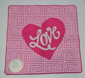 """Pottery Barn Teen Be Inspired Be Bright Love Pillow Cover Pink 18"""" #219"""
