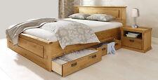 Landhaus Doppelbett Bett mit Schubladen Kiefer Massiv Natur 140x200cm Neu
