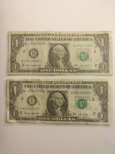 2013 (2) $1frn B* NY STAR notes (rare/error) for true star note collector