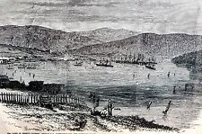 Newfoundland 1866 HEARTS CONTENT TRINITY BAY HARBOR Antique Matted Art Engraving