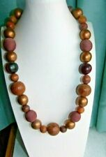 JEWELLERY VERY NICE BROWN WOODEN BALL BEAD NECKLACE MIXED BEADS 966