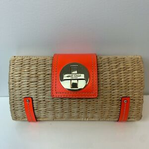 KATE SPADE Raffia Straw Pool Party Clutch Shoulder Bag Orange Trim Turnlock RARE