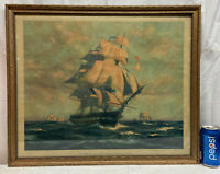 Vtg 1927 SAVE OLD IRONSIDE Fund Nautical Ship Print Gordon Grant Artist Framed