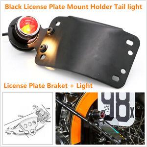 Motorcycle LED Cafe Racer Metal Brake License Plate Tail Light Red Indicator Kit