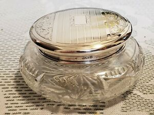 Birmingham sterling crystal  powder jar Made in England