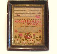 1869 Sampler Alphabet Wedding Canada Margaret and Rollo Framed 19th Century