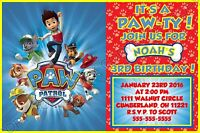 Paw Patrol Birthday Invitations 8 w/envelopes address labels seals personalized
