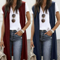 Women Lady Sleeveless Open Front Pocket Causal Lightweight Kimono Cardigan Coat