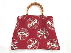 Vintage Coca Cola Purse Tote Handbag Intricate Art deco Designer Handle
