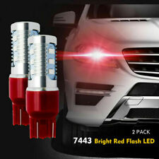 2x 7443 Bright Red Flash Strobe Rear Safe Alert Brake Tail Stop LED Lights Bulbs