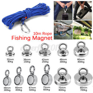 80-700kg Pull Salvage Strong Recovery Magnet Fishing Magnet Treasure w/ 10m Rope