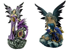 Gothic Fairy Figurine with Dragon Ornament Blue or Purple