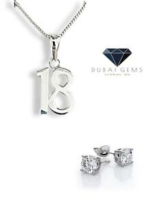 White gold finish special 18th birthday pendant necklace And Earrings Set Gift