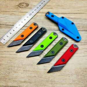 Mini Straightback Knife Fixed Blade Hunting Combat Tactical Survival Stonewashed