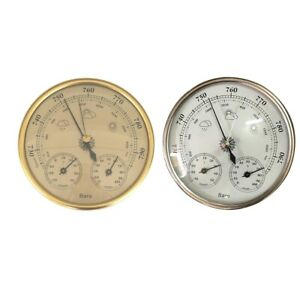 2 Pack Wall Hanging Thermometer Hygrometer Barometer Clock Indoor Outdoor