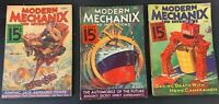 LOT OF 3 VTG 1933 MODERN MECHANIX Mags September October December