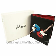 NEW Mens Top Quality LEATHER WALLET by Retro with Fender Guitars Gift Boxed