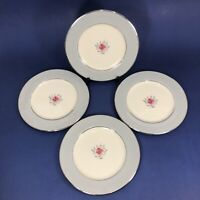 "Flintridge China Miramar Gray Platinum 6 1/4"" Bread Butter Plates SET OF 4"