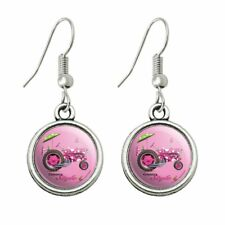 Dot Farming Dangling Drop Charm Earrings Farm Tractor Country Style Pink Polka