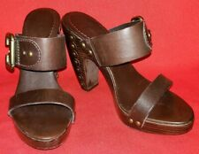 BCBG MAXAZRIA Slide High Heel Sandals Sz 6.5B Brown Leather Crossovers Lg Buckle