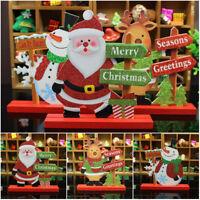 Whosale Christmas Santa Claus Snowman Elk Wooden Hanging Decor Greetings Sign