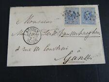 Nederland 19 2x op brief van Arnhem naar Gent 1877