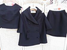 Vintage Lilli Ann 3pc Black Suit Small  as is