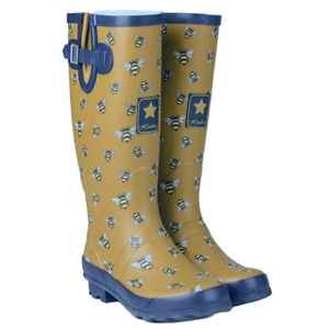 Ladies Wellies Wellington Boots Waterproof Festival Wide Bumble Bee Rain Boots