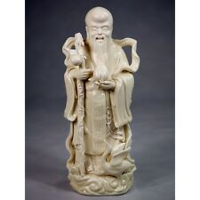 Feng Shui Glücksgott Shou Xing Porzellan Figur Sanxing Blanc de Chine Keramik