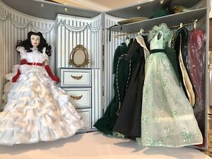 Franklin Mint Gone with the Wind Scarlett O'hara Doll,Trunk, 6 Outfits,Beautiful