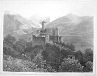 ITALY Coira Castle Castel South Tyrol - 1870s Original Engraving Print