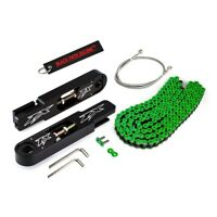 98-02 Kawasaki Ninja ZX6R Billet Swing Arm Extension Brake Hose Green Chain Kit