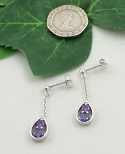 SASSI AE3367 925 Sterling Silver Amethyst Cubic Zirconia CZ Chain Drop Earrings