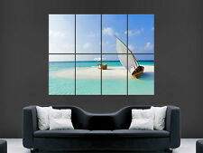 SAIL BOAT BEACH SAND LUXURY PARADISE  ART WALL POSTER  PICTURE PRINT LARGE HUGE