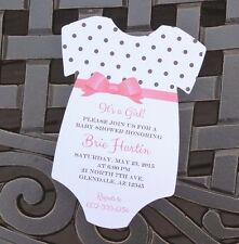 Set of 10 Girl Baby Shower Invitations With Envelopes - Wording Customized