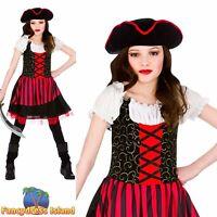 Red Pretty Buccaneer Caribbean Pirate Ship Mate Girls Child Fancy Dress Costume
