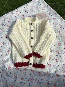 Vintage Style Handknitted Aran Baby Cardigan New