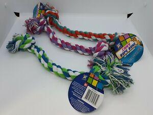 "NEW Set of 3 Zany 12"" Rope Dog Toy Pull Tug Chew Fetch"