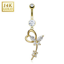 14K Solid GOLD BELLY Button NAVEL Bar RING Piercing Jewelry *BUTTERFLY GEM HEART
